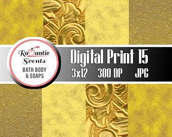 Gold Digital Print for Scrapbooking or Digital Print for Soap Wrapper Labels